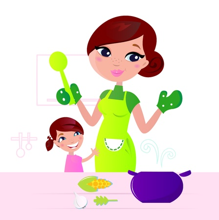 mums: Mom and child cooking together in kitchen.