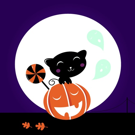 ghost town: Cute stylized Cat character, Halloween Midnight scene. Illustration