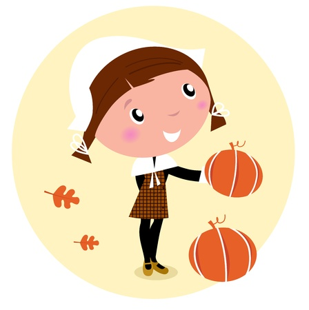 Cute Pilgrim Child during Thanksgiving day Vector