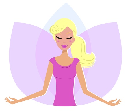 Yoga blond Woman practicing yoga, pink Lotus Flower behind the girl.  Vector