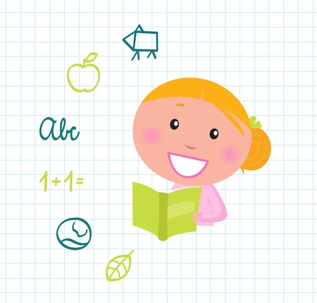 Little cute Girl with Book, School items isolated on white grid Vector