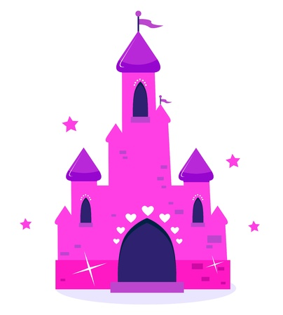Wild pink Princess castle isolated on white background. Vector cartoon Illustration. Vector