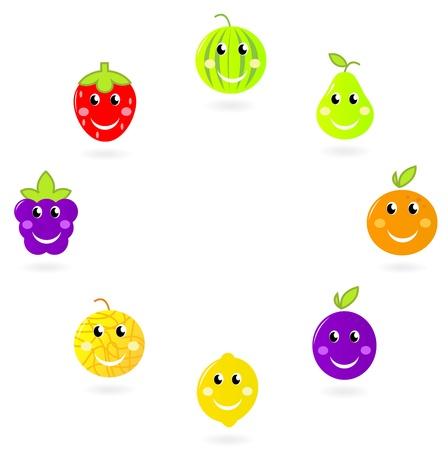 limon caricatura: Fresa, pera, sandía, limón, ciruela, blackberry etc. - vector de fruta caracteres colección.
