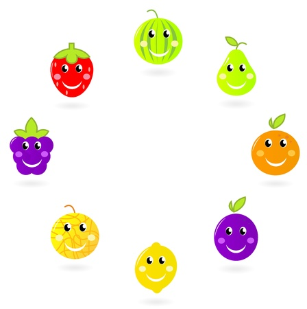 Strawberry, pear, watermelon, lemon, plum, blackberry etc - Fruit vector characters collection. Vector