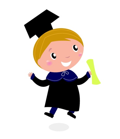 graduates: Graduate Bachelor with diploma isolated on white background. Vector cartoon Illustration.