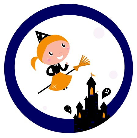 Cute Witch girl flying around Halloween haunted castle. Vector cartoon Illustration. Vector
