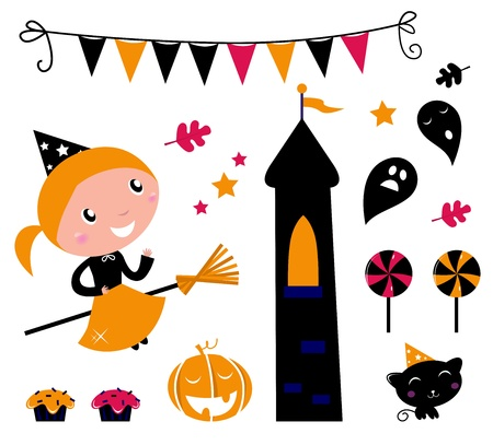 Cute little Halloween Witch, various items for celebration. Vector Illustration