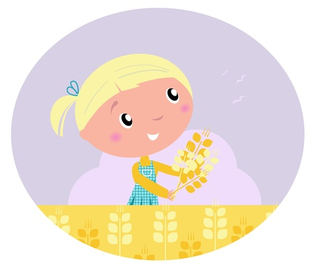 Harvest and grain - Little child with harvested cereals. Vector cartoon ilustration. Vector