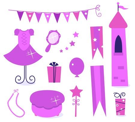 fairy story: Principessa icone partito e elementi di isolato su bianco. Vettore
