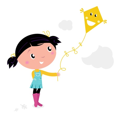 elementary age: Autumn girl flying kite in the air. Vector cartoon Illustration.