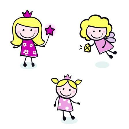 fee zauberstab: Sammlung von Doodle Prinzessin Zeichen. Vector Cartoon Abbildung.