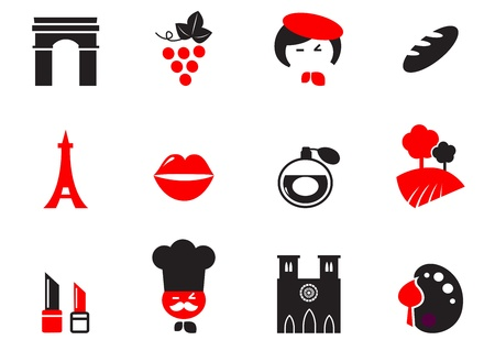 french culture: Icons set and design elements with French and Paris themes. Vector cartoon.