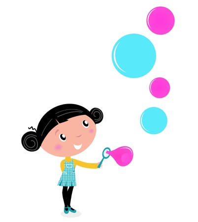 foam bubbles: Little girl blowing bubbles - cartoon Vector illustration Illustration