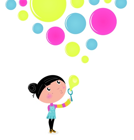 Little Girl blowing Soap bubbles. Vector Illustration. Çizim