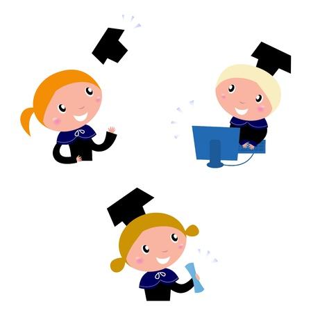 graduacion de ni�os: Feliz graduaci�n ni�os conjunto - ilustraci�n de dibujos animados de vector. Vectores