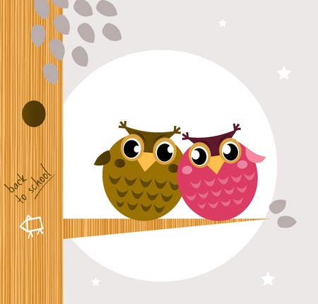 Owl family, tree, moon in background. Vector cartoon Illustration Vector