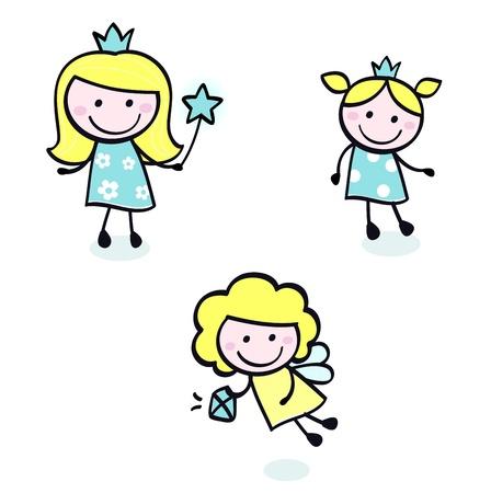 Smiling cute princess girls - vector cartoon Illustration. Vector