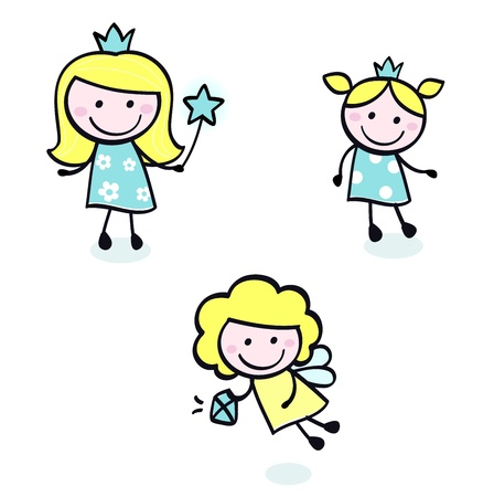 hand drawn wings: Sorridente carino ragazze principessa - cartoon illustrazione vettoriale.