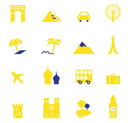 iconic architecture: Yellow and blue vector travel and vacation design elements.