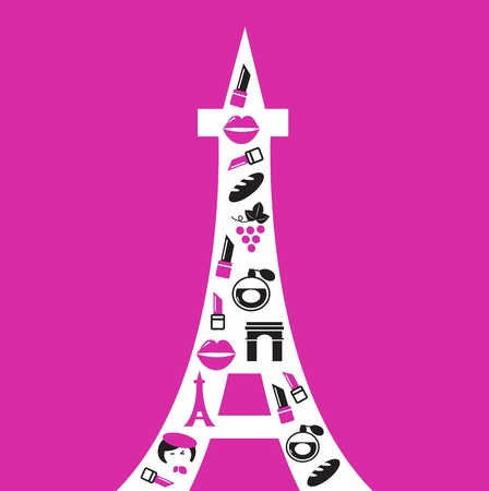 french perfume: vibrant paris tower in retro style. vector illustration.