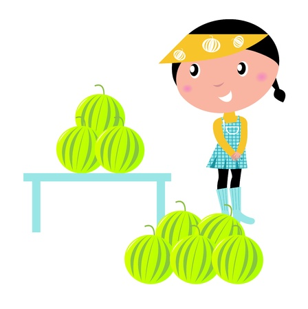 isolate: little girl with melons. vector cartoon illsutration.