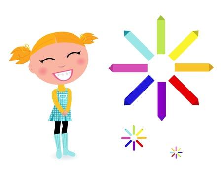 yellow hair: cartone animato ragazza carina con pastelli colorati - illustrazione vettoriale