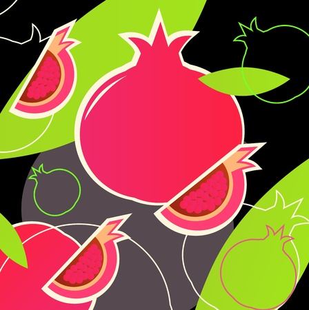 passion ecology: fresh pomegranate texture. retro vector background or texture.
