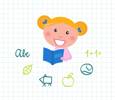 cute little reading school girl with book. vector illustration. Vector