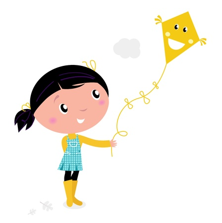 kite flying: cute little child flying kite. vector cartoon illustration.