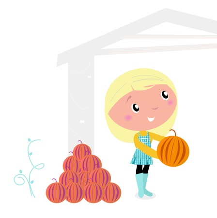 cute little cartoon girl with pumpkin heads. vector cartoon illustration. Vector