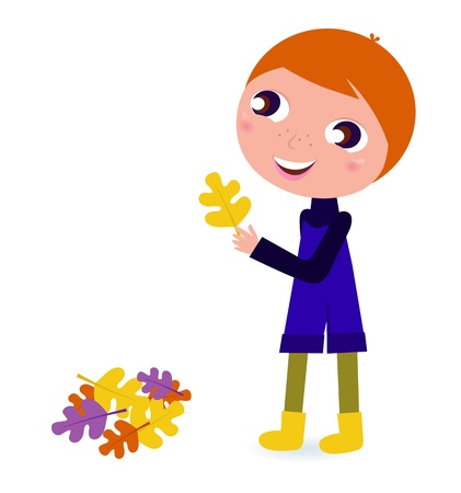 october: Happy cute Boy with autumn Leaves isolated on white. Vector cartoon Illustration.