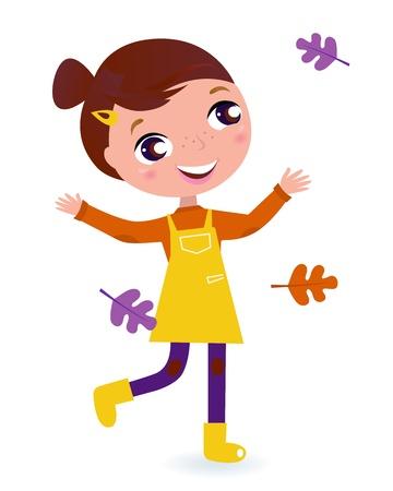 Adorable niña corriendo con hojas de otoño. Ilustración vectorial de dibujos animados. Ilustración de vector