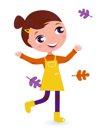 freckles: Adorable running Girl with Autumn Leaves. Vector cartoon Illustration.