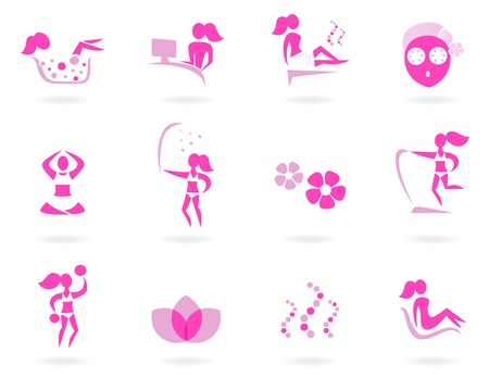 ayurveda: Vector collection of pink spa icons - pink and white.