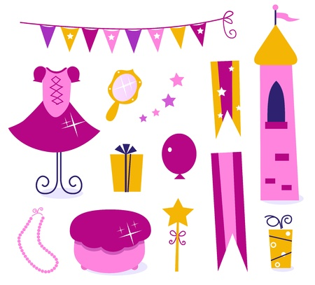 Vector collection of design elements for Princess Party. Vector