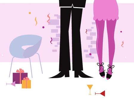 Paar Feier haben und das Datum in hei�em Metropolitan Club. Vector Illustration Illustration