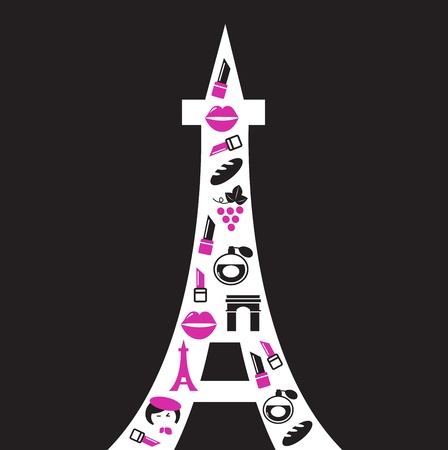 french culture: Paris Tower with icons, retro style. Vector Illustration.