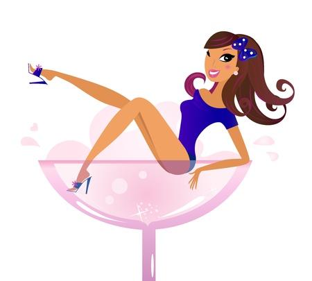 martini glass: Sexy Woman in Martini glass. Vector Illustration.  Illustration