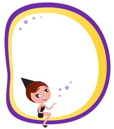 showgirls: Halloween woman, Blank banner card. Vector cartoon Illustration.
