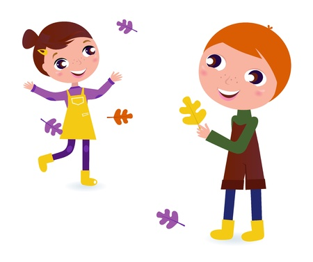 Autumn Boy and Girl isolated on white. Vector Vector