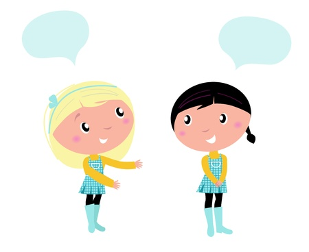 dos personas hablando: Little girls aisladas sobre fondo blanco