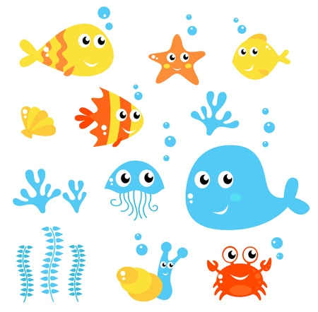 Exotic fishes and Sea animals big collection. Vector cartoon Illustration. Vector