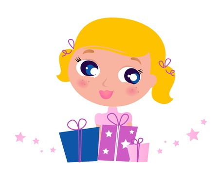 Cute Blond Girl with Gifts. Vector cartoon Illustration.
