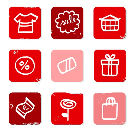 Red collection of sale and shopping icons. Vector Stock Vector - 10762958