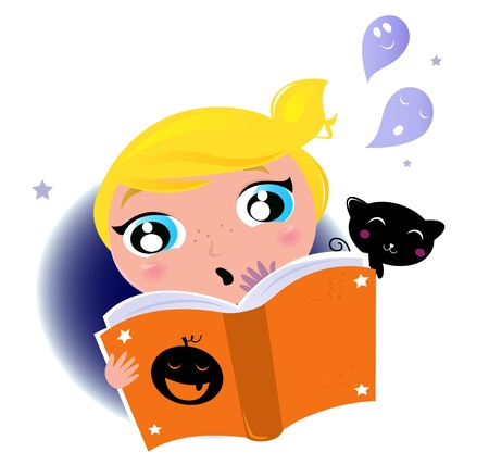 Little Girl reading Halloween book, Ghosts, Black cat. Vector cartoon Illustration. Vector