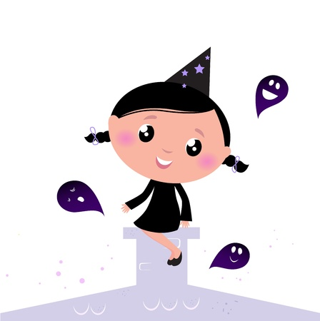 Vector Illustration of cute beautiful Halloween Witch. Vector