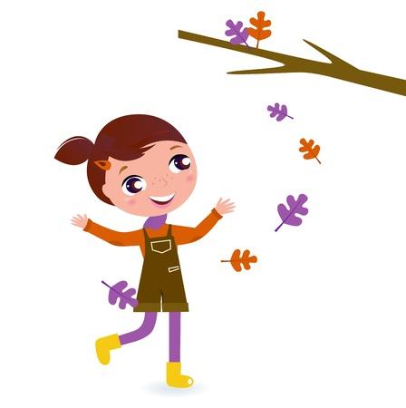 Little Girl & falling Tree Leaves - vector cartoon Illustration Illustration