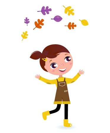 young leaf: Little Girl & autumn Tree Leaves - vector cartoon Illustration Illustration