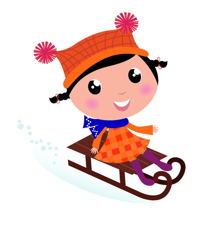 Cute Girl sledding in Winter. Vector cartoon Illustration. Vector