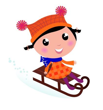 Linda chica trineo en invierno. Vector de cartoon ilustración.
